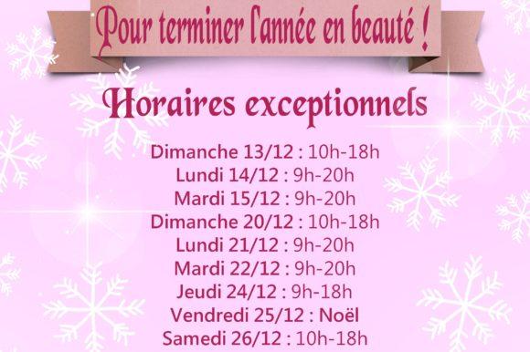 Horaires exceptionnels de décembre !